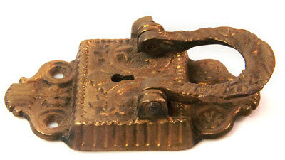 Vtg late 1800's ornate Brass metal Icebox Metal Handle Latch