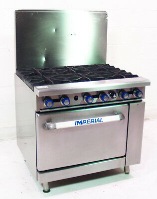 "Used Imperial IR6 36"" Stainless 6 Eye Natural Gas Range"