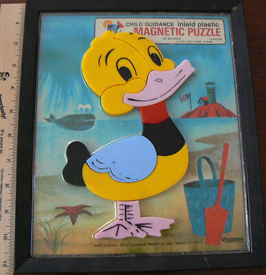Vintage Child Guidance Inlaid Plastic Magnetic Puzzle - #901 DUCK at beach 10 pc