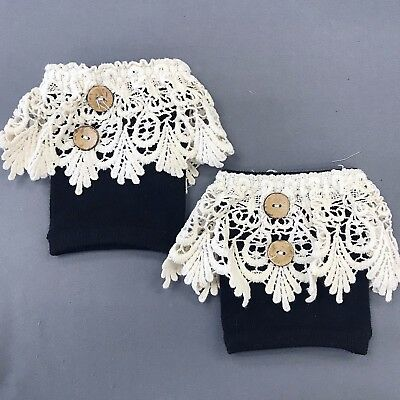 New Women's White Crochet Knit Black Boot Socks Toppers Leg Warmers Cuffs
