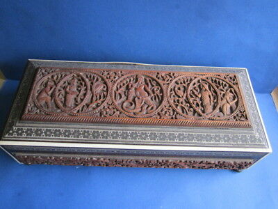 Antique Anglo Indian Sadeli Micro Mosaic Carved Box