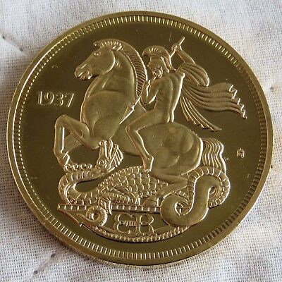 Edward Viii 1937 Gold Plated Proof Pattern George & Dragon Crown