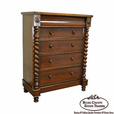 Empire Style Antique Large Mahogany Tall Chest w/ Spiral Columns