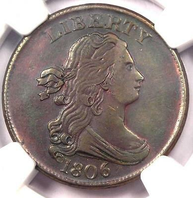 1806 Draped Bust Half Cent 1/2C - Certified NGC AU Details - Rare Coin in AU