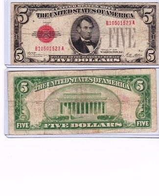 1928 $5 Legal Tender Note sold as each, you get one note