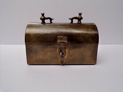 Solid Brass Antique lock box trinket metal copper latch vintage old jewelry