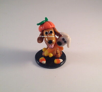 #3,183  FRANKIE DOODLE DOG!  Candy Corn Woofah Toy Dachshund Halloween Sculpture