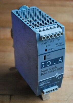 Sola SDN 2.5-24-100P Power Supply, 24VDC/2.5A, 115-230VAC 1.3/0.7A - USED