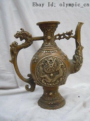 Chinese brass copper carved finely beautiful dragon flagon pot Sculpture statue