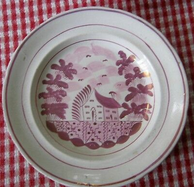 19th century pink luster antique Staffordshire pearlware plate, 8""