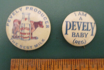 2 Vintage Pevely Producer Dairy St. Louis Milk Bottle Cow Pinback Buttons