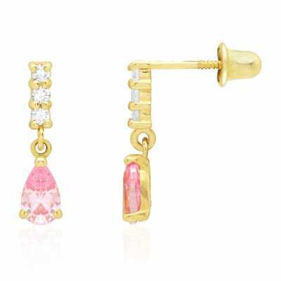 14k Yellow Gold Pink Tourmaline Teardrop Dangle Screwback Stud Earrings