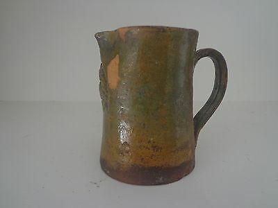 19Th Century Terra Cotta Confit Pot Or Pitcher With Manganese Glaze Redware