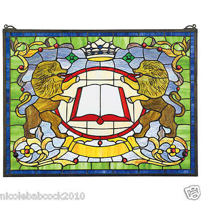 """Antique style 25"""" Medieval Coat of Arms Lions Handcrafted Stained Glass Window"""