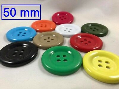 Extra Large Sewing Clown Buttons Very Huge 50mm Plastic 2inches 4 Hole Craft DIY