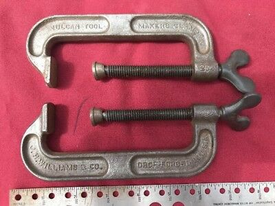 Lot Of 2 Vintage J.H.Williams & Co. Vulcan Tool Makers C-Clamp #204 Great Shape