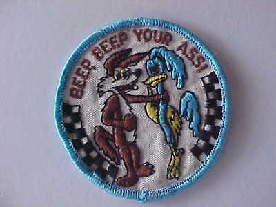 Vintage Embroidered Cartoon Patch Wile E Coyote & Road Runner Beep Beep Your Ass