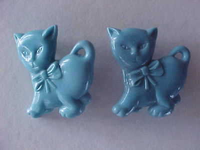 Pair Vintage GOODY Children Child Barrettes Blue Hard Plastic Cat Kitten Kitty