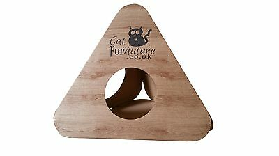 Cardboard Cat Kitten Pyramid Tent Tunnel Toy Igloo Box Tree scratch Wood Effect
