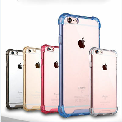 360° Shockproof Soft Silicone Transparent TPU Back Case Cover Skin For iphone