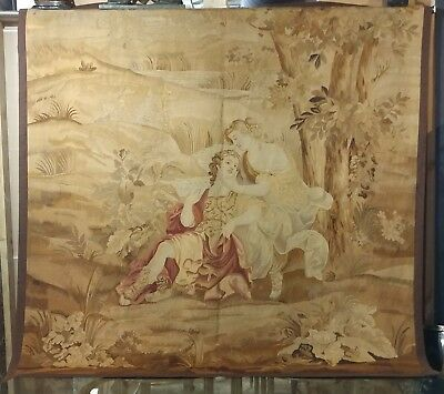 19th century Beautiful Antique French Aubusson Tapestry - Lover's scene