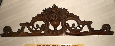 Antique French wood carved pediment finial wall hanging door top reclaimed 35x9""