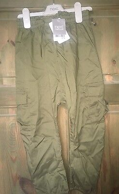 BNWT Girls NEXT Khaki Green Cropped Chinos Combat Trousers Summer 6-7 Years