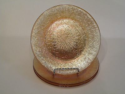Three Gorgeous Vintage Marigold Carnival Glass Textured Crackle Pattern Plates
