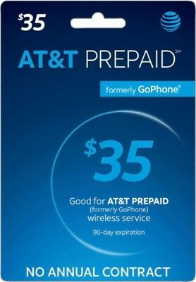 AT&T Prepaid Go Phone $35 Refill Card - Free Shipping Fast Delivery