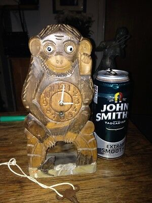 Vintage Mantle Clock Monkey With Moving Eyes.  And Key