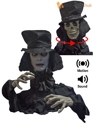 Animated Zombie Groom Groundbreaker Prop Sound Halloween Party Decoration 2 Face