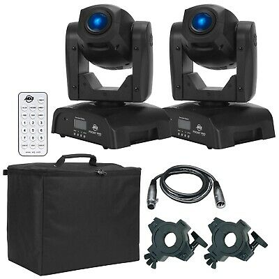 (2) American DJ Pocket Pro High Output Mini Moving Heads + Case + Remote Pack