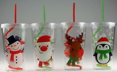 Set Of 4 Plastic Kid's Christmas Drinking Tumbler Cups - Lid And Swirl Straw