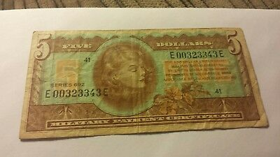 military payment certificate series 692 5 dollars