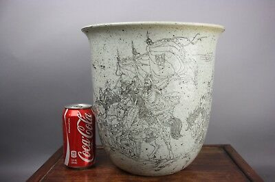 19th/20th C. Chinese Unusual Grisaille-Decorated Scroll Pot