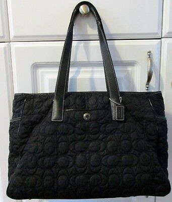 Coach Diaper Bag, Pad And Wallet  Black  Quilted Cloth  Cc Signature  Tote