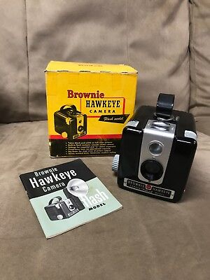 Vintage Kodak Brownie Hawkeye Flash Model Original Box And Manual