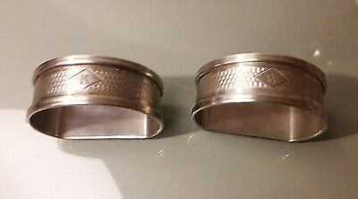 Two Antique Birmingham 1937 Sterling Silver H.G & S 'D' Shape Napkin Rings