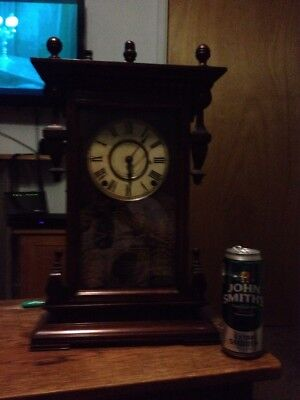 Large Vintage Mantle Clock And Key And Pendulum