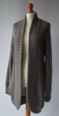 Ladies Monsoon Grey Mohair Wool Blend Long Cardigan / Coatigan Size M 12 / 14