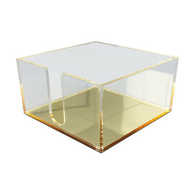 New! Deluxe Desktop Acrylic Post It Note Tray - Clear/mirror Gold Organizer