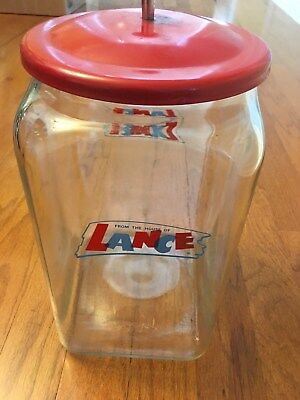 Vintage Lance Cracker Cookie Store Counter Display Advertising Glass Jar!