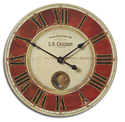 """New 23"""" Distressed Red Face Wall Clock Large Roman Numbers Internal Pendulum"""