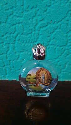 Catholic Our Lady of Lourdes Mary Glass Holy Water Bottle Silver Rose Cap
