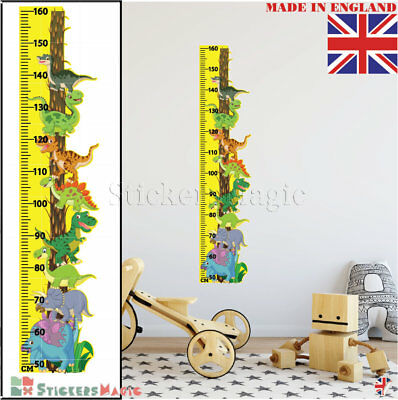 Dinosaurs Height Chart Growth Measure Wall Stickers Children Bedroom Art Decals
