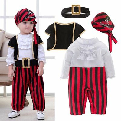 Baby Boy Girl Christmas Pirate Costume Fancy Outfit Clothes Cosplay Party Set