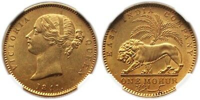 1841-(C) British India Victoria - East India Company Gold Mohur Ngc Ms62