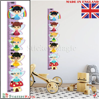 Fairy Height Chart Wall Stickers Growth Girls Childrens Bedroom Decor Art Decals