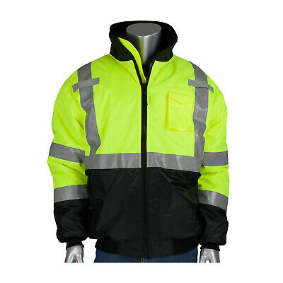 Pyramex Hi-Vis Class 3 Insulated Safety Bomber Reflective Jacket ROAD WORK M-5XL