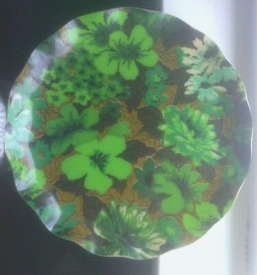 """Vintage """"FAB"""" Tray, Round, Ruffled Edge, 13.5"""" Green Floral"""